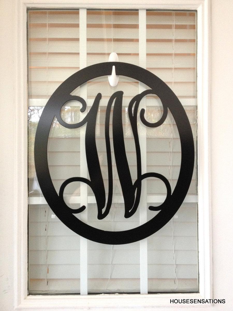Metal Monogram Letter Monogram Wreath Door Hanger Monogram