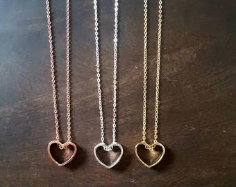 Heart necklace, necklaces heart, necklaces for women, jewelry, delicate necklace , bridesmaid gift , valentines gifts, gift for mum
