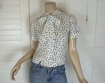 Polka Dot Bow Blouse- 1960s / 60s / Secretary / School Top- Navy Blue & White- Medium- Sheer- Lolita