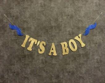 Its A Boy banner, Baby Boy Shower, Baby Shower Decorations, Boy Baby Shower, Mustache Banner