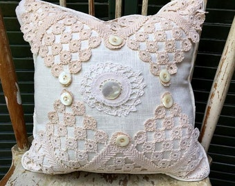 Decorative Shabby Chic  Pillow Mixed Vintage Doilies, Beautiful Vintage Buttons, White Linen, Linen Back