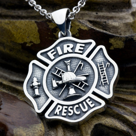 Large maltese cross firefighter fire and rescue sterling like this item aloadofball Choice Image