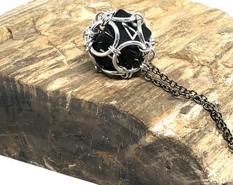 Gamer Jewelry - D6 Dice Jewelry - D6 Black Dice - Chain Mail Necklace - RPG Jewelry - D&D