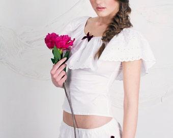 White Jersey Cotton/Cotton anglaise lace Nightwear/sleepwear set