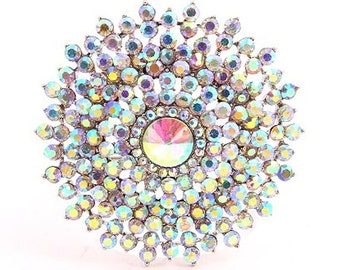 Aurora Borealis Brooch, AB Crystal Brooch, Iridescent Silver Brooch, AB Bridal Brooch, Rainbow Wedding Brooch, Silver Iridescent Brooches