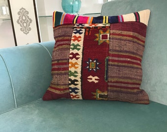 Pillow Cover,  Designer Pillow, Motif Pillow, Home Decor for Pillow, Vintage Decor, Decorative Pillows, Turkish Kilim Pillow, 18x18 inch,