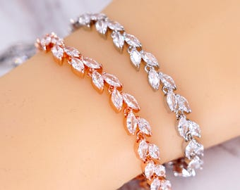 Rose Gold Silver Wedding Bridesmaid Gift Bridal Bracelet Jewelry Set Clear White Cubic Zirconia Marquise Weddings Brides B87