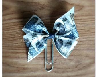 Dr. Who inspired ribbon bow Planner clip, bookmark, planner bow clip, dahlek inspired, exterminate, blue white