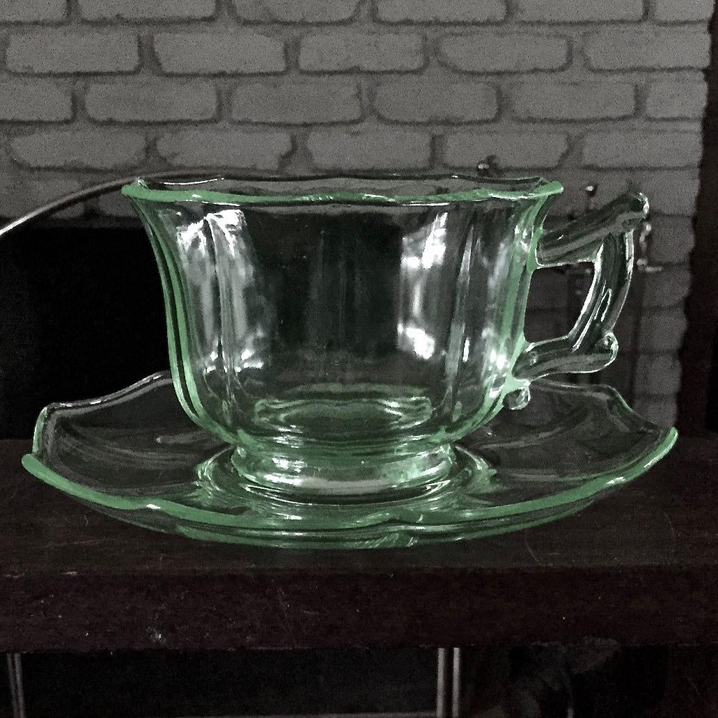 Cambridge Glass Decagon Lt Emerald Green Pattern Cup Saucer