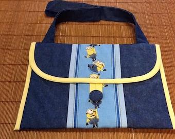 Ipad bag, denim , blue, yellow, light blue,