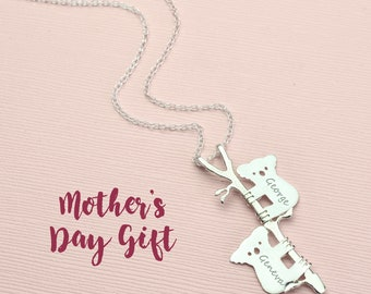 Mothers day necklace, Koala bear necklace, name necklace for mom necklace, mama bear necklace Baby Bear Necklace koala necklace Animal