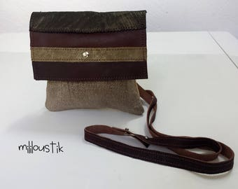 small shoulder bag mixed LEATHERS and hides and canvas