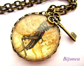 Locust necklace - Insect locust necklace - Key locust necklace - Key necklace - Insect locust necklace n504