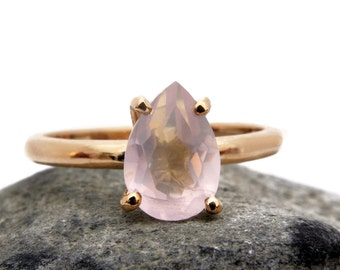 ETSY BIRTHDAY SALE - 14k rose gold ring,rose quartz ring,pink quartz ring,teardrop ring,drop stone ring,gemstone ring,love stone jewelry