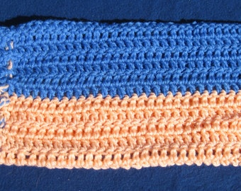 HOT WATER BOTTLE Cozy/Cover Peach with Blue Drawstring