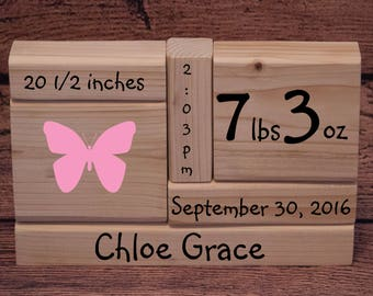 Unfinished Birth Announcement Stacking Blocks, Wood Blocks, DIY Craft Blocks, Plain, Unpainted, SET of 6 Wood Blocks, Shelf Sitter
