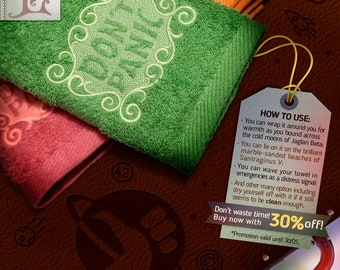 "The Hitchhiker's Guide to the Galaxy ""Don't Panic"" Towels"