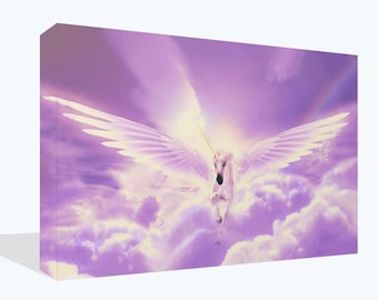 Fantasy Pegasus Flying Horse Unicorn Print Wall Art Ready To Hang Or Poster Print