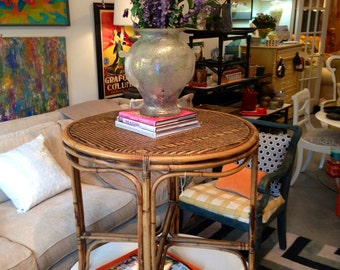 Bamboo entry hall table / occasional table  round