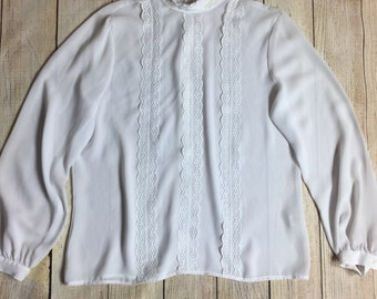 JOANNA Blouse XL Womens Top Long Sleeve Lace Trim Semi Sheer Holiday Vintage A7409