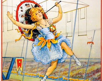 TZ67 Vintage High Wire Circus Carnival Advertising Poster Re-Print Wall Decor A1/A2/A3/A4