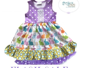 Girls Bunny Easter Spring Summer 2 piece swing top shorts purple polka dot boutique custom Momi boutique