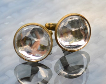 Clear Silver Mirrored Back Cabochon Cufflinks in Antiqued T-Bar Cufflink Fittings - Domed Circles - Gift Boxed