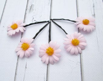 Set Light Pink Daisies Hair Pin Accessories - Daisy Flower Hair - Camomile hair decoration - Floral Bobby Pin - Girls Hair Accessories