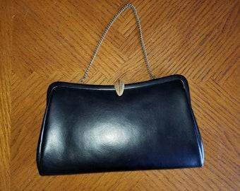 Vintage Black Clutch Evening Bag Purse Faux Leather/Gold Tone Hardware