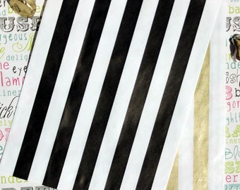 Gold Black White Stripe Wedding Favor Bags, Black White Gold Treat Bags for Candy, Cookies, Cake Pops, Donuts, Pretzels, Popcorn - 50 Bags
