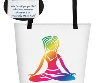 Yoga Tote Bag, Yoga Girl Beach Bag, Inspirational Tote Bag, Inspirational bags, Rainbow Yoga Girl, Beach Bag, Shopping Tote Bag, Yoga tote,