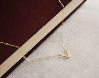 Simple Gold V Necklace- Minimal Necklace, Layering Necklace, Simple Minimalist Design, 14K Gold Filled Chain, Small Charm Necklace