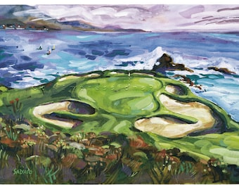 Christmas gift Golf Art. Pebble Beach Golf Club. Print of original watercolor painting.
