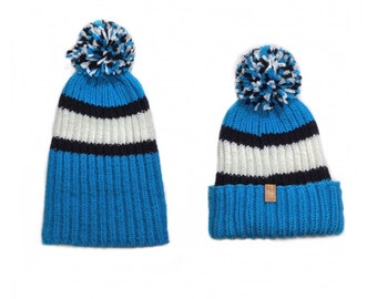 Knitting hat Carolina football hat football beanie hat knitted hat hand knitted hat blue black white hat pom pom hat