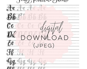 Fancy Practice Sheets - Lowercase & Uppercase {Full Alphabet} | Hand Lettered Practice Sheets | Digital Download | Printable |