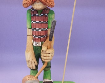 Wood carving hand carved golfer hand made gift for the golf fanatic hand painted OOAK gift for him or her home decoration mantle piece