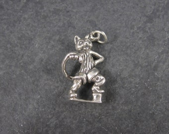 Sterling Puss In Boots Charm Nursery Rhyme