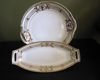 Noritake China Encrusted Urn Pattern #37532, Handled Cake Plate and Celery Dish, China, Serving Dish