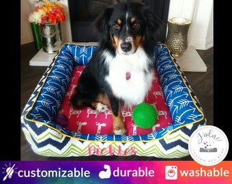 Colorful Large Dog Bed | Pink, Cobalt, Green, Navy, Yellow, Fun | Washable and High Quality