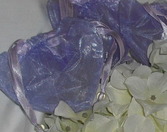 Purple / Lavender Organza Heart Bags ... Set of 10