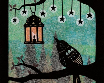 Lantern in the Mist - 8 x 10 inch Cut Paper Art Print
