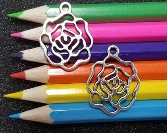 10 PCS - Rose Flower Silver Tone Charm Pendant C1622