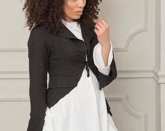 Women Blazer, Black Blazer, Plus Size Blazer, Casual Jacket, Summer Jacket, Asymmetrical Jacket, Women Clothing, Blazer Jacket,Cotton Jacket