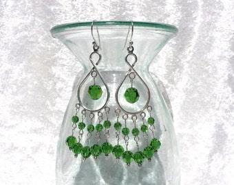Fern green Swarovski crystal chandelier earrings