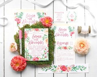 Beach Wedding Invitation, Floral Wedding Invitation Set, Wedding Invites, Printable Invitation, Tropical Wedding Invitation, Destination
