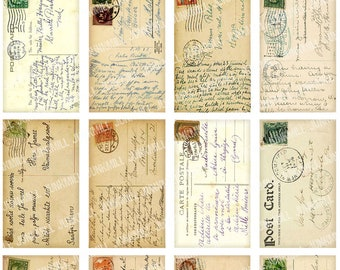 ANTIQUE POSTCARDS - Digital Printable Collage Sheet - Vintage Handwritten Postcards from France, Germany with Postage, Instant Download