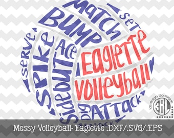 Messy Eaglette Volleyball Files INSTANT DOWNLOAD in dxf/svg/eps for use with programs such as Silhouette Studio and Cricut Design Space