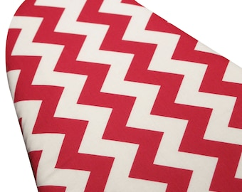 Ironing Board Cover with ELASTIC AROUND EDGES made with Riley blake red and white chevron select the size