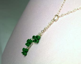 Shamrock Necklace Sterling Silver Chain Drop Necklace, paper quill clover charms, y necklace for St Patricks Day necklace, tiny shamrocks