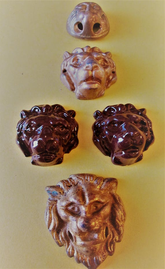 5 Assorted Vintage Painted Cast Metal Lion Head Ornaments for your Creative Projects, Steampunk Art
